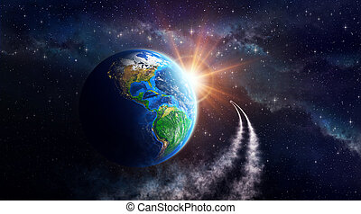 Earth fantasy - Illuminated face of the Earth in outer...