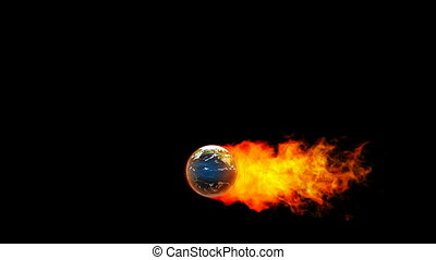 Earth fireball in flames