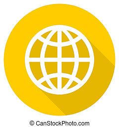 earth flat design yellow web icon