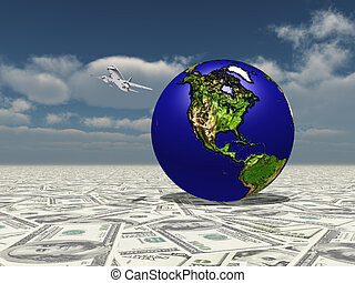 Earth Focus Americas on Dollasr Surface with Aircraft