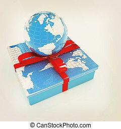 earth for gift. 3D illustration. Vintage style.