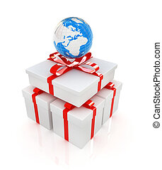 earth for gift on a white background