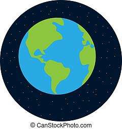 Earth from space, illustration, vector on white background.