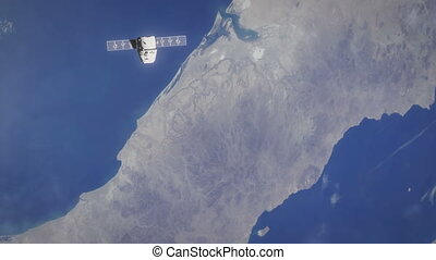 Earth from Space with Ship - D - Lovely shot of planet Earth...