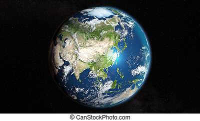 earth from space, zoom on Asia
