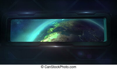 Earth from the porthole of the spaceship