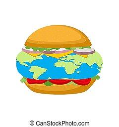 earth., galactisch, hamburger, illustratie, vector, ...