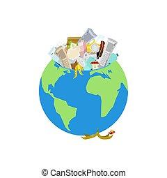 Earth garbage dump. Planet and garbage. scrapyard Vector...
