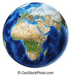 Earth globe 3d illustration. Africa, Asia and Europe view.