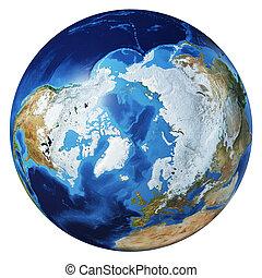 Earth globe 3d illustration. Arctic view.