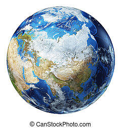 Earth globe 3d illustration. Asia North view.
