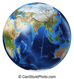 Earth globe 3d illustration. Asia view.