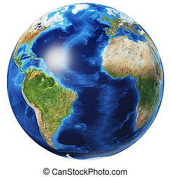 Earth globe 3d illustration. Atlantic Ocean view.