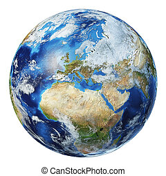 Earth globe 3d illustration. Europe view.