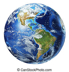 Earth globe 3d illustration. North America and South America view.