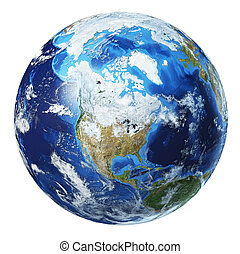 Earth globe 3d illustration. North America view.