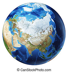 Earth globe 3d illustration. North Asia view.