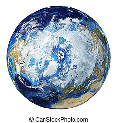 Earth globe 3d illustration. North Pole view.