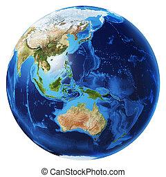 Earth globe 3d illustration. Oceania view.