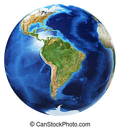 Earth globe 3d illustration. South America view.
