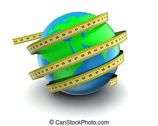 earth globe 3d measure - 3d illustration of earth globe with...