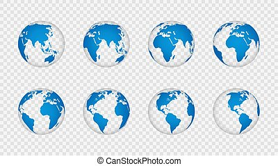 Earth globe 3d. Realistic world map globes continents. Planet with cartography texture, geography isolated on transparent vector set