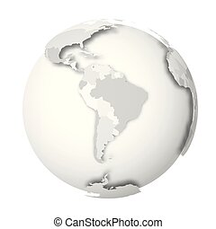Earth globe. 3D world map with grey political map of...