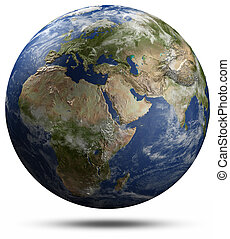 Earth globe - Africa, Europe and Asia. Elements of this...