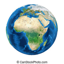 Earth Globe Africa View Isolated