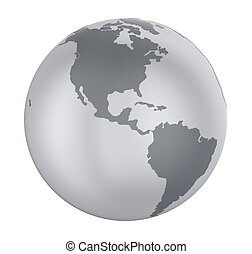 Earth Globe America View Isolated