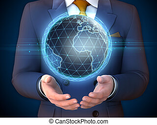 Earth globe and businessman