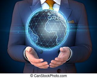 Earth globe and businessman