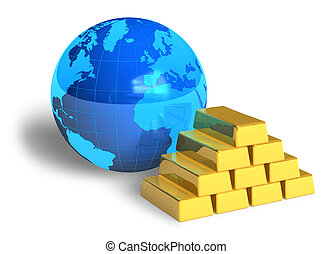 Earth globe and gold bars