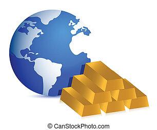 Earth globe and gold bars