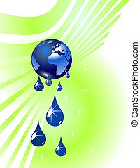 Earth globe and water drops