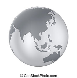 Earth Globe Asia View Isolated