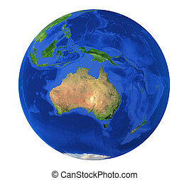 Earth Globe Australia View Isolated