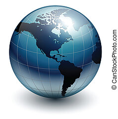 Blue earth globe, vector illustration.