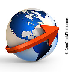 earth globe communication with arrow sign