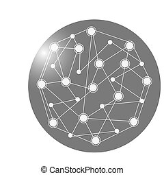 earth globe connection lines icon - flat design earth globe...