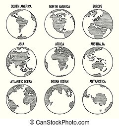 Earth globe doodle. Planet sketched map america india africa continents vector hand drawn illustrations