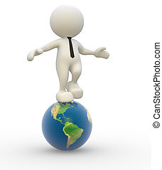 Earth globe - 3d people - man, person with earth globe
