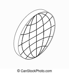 Earth globe emblem icon, isometric 3d style