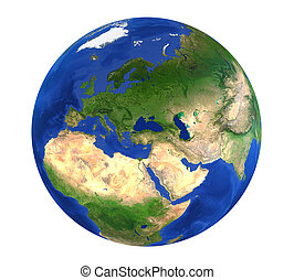Earth Globe Europe View Isolated