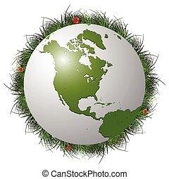 earth globe, grass and ladybugs