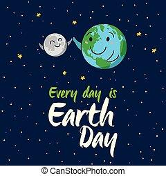 Earth globe high five with moon. Vector cartoon card