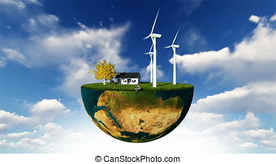 Earth globe holding wind turbines and happy family against...
