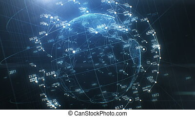 Earth Globe Hologram Spinning Seamless, Network Growing and Numbers Around. Abstract Beautiful Looped 3d Animation Cyberspace. Futuristic Business and Technology Concept 4k UHD 3840x2160
