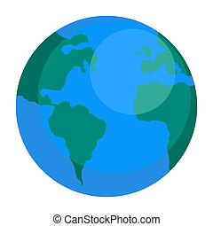 Earth globe icon, flat style