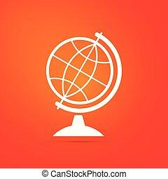 Earth globe icon isolated on orange background. Flat design. Vector Illustration